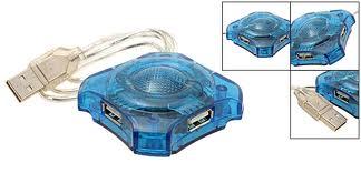 Hub USB hình cá 4 cổng màu xanh