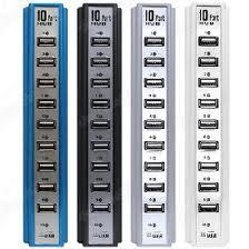 Hub USB 10 cổng có nguồn hỗ trợ đi kèm