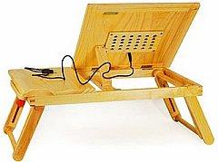 Bàn kê Laptop gỗ có quạt, bàn di chuột